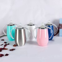 Wholesale handle online - 8OZ Pacifier Sippy Egg Cup Kids Training Tumbler Toddler Drinking Mug Stainless Steel Insulated Sippy Cup With Handle Milk Bottle TTA818