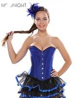 trajes de corsé azul al por mayor-MOONIGHT Mujer 2019 Sexy Corset Gothic Lace Up Disfraz Sólido Steampunk Blue Body Shaper Bustier
