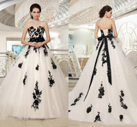 Wholesale black sweetheart corset wedding dress for sale - Group buy 2020 New Arrival Black And White A Line Bridal Wedding Dresses Sweetheart Corset Back Bow Sash Floral Bridal Gowns