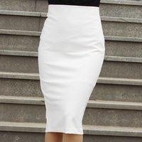 женщины, одетые в юбку из белого карандаша оптовых-Женщины Высокая Талия Белый / Черный Карандаш Обернуть Юбка Сплит Юбки Длиной До Колена Рабочая Одежда Плюс Размер