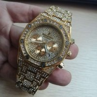 Wholesale gold roles resale online - Role Hip Hop Watch Bling Diamond Watch Men Silver Steel Band Men s Business Quartz Wrist Watches Waterproof Relogio Masculino
