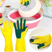 длинные перчатки оптовых-Чистящие перчатки мытья посуды Перчатки резиновые Рукавицы Housework Latex Варежки Long Кухня мытья посуды Полуперчатки высокого качества