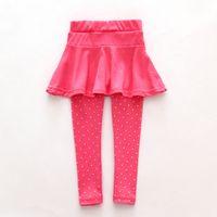 kinder schwarze leggings großhandel-Wollculotte des Kleinkindmädchens machen Hosenkinderkindschwarzes rosa legging Hosenhosenrock-Babykleidung