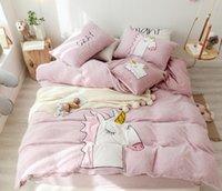 ingrosso coperte di piumini stampati morbidi-Flanella Cartoon Printed Bedding set Winter Warm Fleece Soft Duvet cover 4 Pz Lenzuolo Federa Full Size