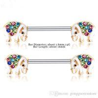 Wholesale animal nipple rings for sale - Group buy 10 Pair L Surgical Steel Barbell Piercing Crystal Rhinestone D Cartoon Animal Nipple Ring Bar Body Jewelry