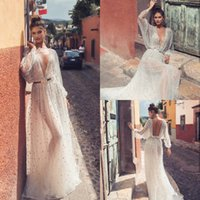 Wholesale beach sequin wedding dresses resale online - 2020 New Designer Sexy Beach Wedding Dresses Illusion Long Sleeve Sequins Beads Sweep Train Bridal Gowns Backless Plus Size Wedding Dress