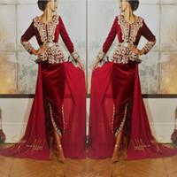 fiesta de terciopelo manga larga al por mayor-2019 Borgoña terciopelo Caftan karakou algerien Prom vestidos formales con manga larga Peplum del cordón del oro del desgaste del vestido de noche de la ocasión