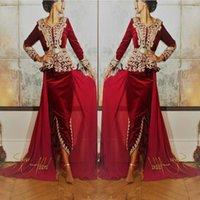 laço caftan venda por atacado-2019 Borgonha Velvet Caftan karakou algerien Prom vestidos formais com Gold Lace manga comprida Peplum ocasião Vestido de Noite Wear