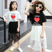 Wholesale clothe girl free shipping for sale - Group buy Girls summer dress suit skirt new summer fashion child ren short sleeve two piece small girl skirt sets clothing