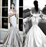 Wholesale trumpet satin sweetheart strapless wedding dresses resale online - 2020 Strapless Ruched Ruffles Mermaid Wedding Dresses Satin Backless Bridal Gowns Plus Size Arabic Slim Fitted Wedding Dress BC2401