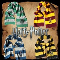 lenços venda por atacado-17 * 160 CM Harry Potter Cachecol Insígnias Cachecóis Grifinória Hufflepuff Slytherin Malha Cachecóis Cosplay Presente Traje Tarja Quente Scarve
