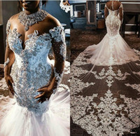 Wholesale long sleeve sheer top wedding dresses for sale - Group buy Sheer Mesh Top Lace Mermaid Wedding Dresses Tulle Lace Applique Beaded Crystals Long Sleeves Wedding Bridal Gowns with detachable train