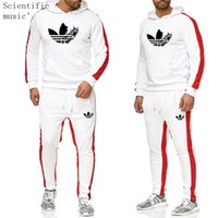 двухкомпонентный капюшон оптовых-2019 The New  Tracksuit Fashion Men Sportswear Two Piece Sets All Cotton Fleece Thick hoodie+Pants Sporting Suit