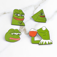Wholesale brooches frogs resale online - Pepe The Frog Brooch Sad Think Drink Funny Cute Animal Denim Jacket Brooches Cartoon Enamel Pins Badge Jewelry Gifts Men Women Cheap