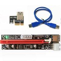 tarjeta de visualización pci al por mayor-500set PCI-E PCI E Express 1X a 16X Tarjeta de extensión vertical SATA 15 Pin 6 Pin 4 PIN 3 Fuente de alimentación LED indicador de luz 009 Para minería