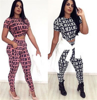 Wholesale short sleeve tracksuit top for sale - Group buy 2019 Women F Letters Tracksuit Short Sleeve Crop Tops Leggings Pants Piece Set Summer Trousers Outfit T Shirt Sportswear S XL C41707