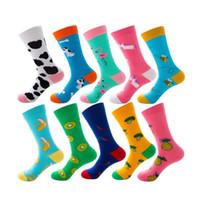 lindo toro al por mayor-100 pares de mujeres divertidas calcetines de algodón peinado de frutas animales lindo leche de vaca vaca bull terrier perro unicornio plátano piña calcetín