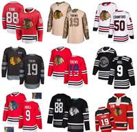 trikot flagge groihandel-Individuelle Chicago Blackhawks Jersey 9 Bobby Hull 88 Patrick Kane 19 Jonathan Toews 12 DeBrincat 50 Crawford 64 Keith USA Flag Hockey Jerseys