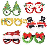 decoraciones de muñeco de nieve de navidad al por mayor-Fiesta de Navidad 10styles gafas Decoración Juguetes para niños de Santa Claus muñeco de nieve Gafas decoraciones de Navidad regalo del favor de partido FFA2859-1