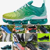 için takım ayakkabıları toptan satış-2019 Tn Artı Gökkuşağı Koşu Ayakkabıları Mens Bumblebee Gerçek Üzüm Olabilir Üçlü Siyah Gri Mavi Tasarımcı Ayakkabı Şerbet Takım Hava Tn Requin Sneakers