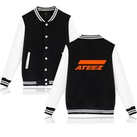venta de abrigo coreano al por mayor-ATEEZ Print Jacket Mens 2019 Nuevo Equipo Coreano Harajuku Casual Hot Sale Coat Hip Soft Kpop Ropa Casual Jacket Coat