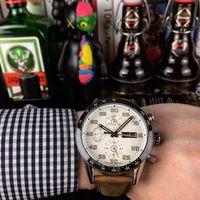 correa de cuero marrón reloj de lujo al por mayor-Relojes de lujo, cinturón de cuero marrón, hebilla plegable original, impermeable, relojes automáticos mecánicos para hombres, entrega gratuita