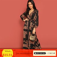 Wholesale bohemian long scarf resale online - Colrovie V Neck Scarf Print Belted Wrap Casual Dress Women Spring Long Sleeve Party Maxi Dress Vacation Ladies Dresses J190622
