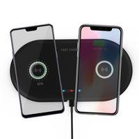 телефонная база оптовых-2 в 1 Dual QI Wireless Charger Base Быстрая зарядка Pad Быстрая зарядка телефона Зарядное устройство для iPhone X XS Samsung S9 S8 Edge Note9 Huawei P20 P30