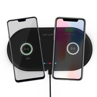 teléfono base iphone al por mayor-2 en 1 Dual QI Base de cargador inalámbrico Cargador rápido Cargador de teléfono de carga rápida para iPhone X XS Samsung S9 S8 Edge Note9 Huawei P20 P30