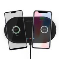 iphone telefon yastığı toptan satış-2 in 1 Çift QI Kablosuz Şarj Bankası Hızlı Şarj Pad Hızlı Şarj Telefon Şarj iphone X XS Samsung S9 S8 Kenar Note9 Huawei P20 P30