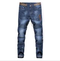 ingrosso pantaloni jeans alla moda-trendy jeans da uomo jean classico limitato ricamo jeans di Medusa strada popolare pantaloni gamba dritta uomo jeans jogging jean fitness jean