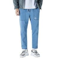 ingrosso pantalone jeans cinese-Mens Jeans Fashion Casual pantaloni del denim di stampa Vita elastica retrò cinese a gamba larga pantaloni larghi Lisci Neri Blu M-3XL