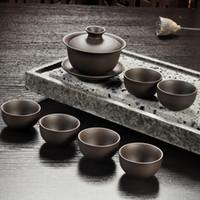 teteras yixing al por mayor-Juego de té de arena púrpura Yixing Tetera de kung fu de cerámica negra / roja, taza de té de tetera de arena púrpura hecha a mano Ceremonia del té de la sopera de Gaiwan