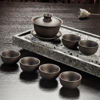 ingrosso teiere fatte a mano yixing-Yixing Set da tè viola sabbia nero / rosso ceramica kung fu Teiera, fatto a mano Viola sabbia teiera tazza da tè gaiwan Tureen cerimonia del tè