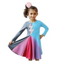 neues modell baby kleid großhandel-Baby-Partei-Kleid der neuen Art-Regenbogen-Kleider für Kinder Girls 4 Models Splice Princess Festzug-Kleid-Geburtstags-Party-Kleider
