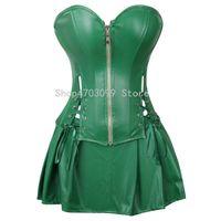 falda corsé de piel sintética al por mayor-Vestido corsé atractivo Faux Leather Overbust Corset Bustier con minifalda Poison Ivy Costume Green Plus