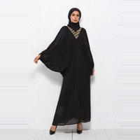 абая мусульманский арабский оптовых- diamonds chiffon batwing sleeve Muslim abaya kaftan dubai arabic islamic women party dress 2019 spring autumn VKDR1465