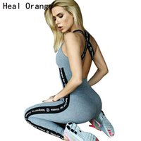 ingrosso calze donna arancione-HEAL ORANGE Tuta sportiva Tuta da donna Set da yoga Lettera stampata Palestra da fitness Set da corsa Leggings per abbigliamento sportivo Tute strette