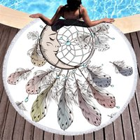Wholesale sale printed towels resale online - Printing Catcher Network Beach Towels Circular Fine Fiber Tassels Outdoor Seaside White Bath Towel Fashion Shawl Hot Sale pxD1