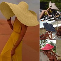 grandes y elegantes sombreros de paja al por mayor-2019 Summer New Fashion Beach Large Hat Mujeres Damas Vintage Wide Brim Boater Straw Elegante Flat Floppy Hat sombreros # 7