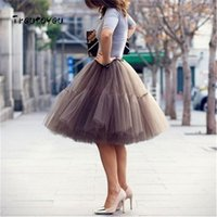 Wholesale bridesmaid petticoats for sale - Group buy 5 Layers cm Tutu Tulle Skirt Vintage Midi Pleated Skirts Womens Lolita Petticoat Bridesmaid Wedding Faldas Mujer Saias Jupe