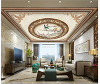ingrosso murales uccelli-Abitudine 3D di grandi dimensioni zenit foto murales che raffigura cinese fiore ed uccello modello retrò zenit soffitto murale sfondo decorazione d'interni