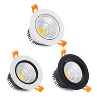 Wholesale led downlight super bright resale online - Super Bright Epistar COB LED Recessed Downlight W W W K K K LED Ceiling Spot Lamp Indoor Lighting