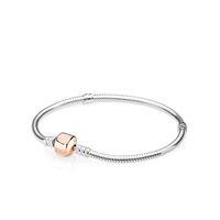 charme serpent or rose achat en gros de-18K Rose Clip d'or classique BRACELET Set Original Box pour Pandora 925 Sterling Silver Snake Chain Charms Bracelets pour Femmes Hommes