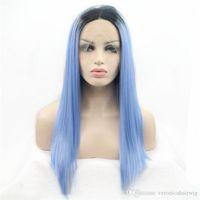 ücretsiz koyu mavi peruk toptan satış-Ücretsiz Kargo Ombre Mavi 2 Ton Renk Doğal Düz Dantel Ön Peruk Koyu Kökleri Tutkalsız Isıya Dayanıklı Sentetik Saç Beyaz Kadınlar için