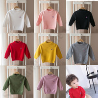 jersey de color multicolor al por mayor-Champion Brand Designer Boys Girls Vintage Sweaters Pullover Cuello redondo Tejido de manga larga Color sólido Niños Sudadera con capucha de invierno C82606