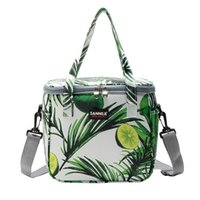 Wholesale portable insulated cooler bags online - Oxford Green Leaf Lemon Keeping Cooler Portable Water Proof Keep Warm Package Insulated Zipper Bag Thermal Insulation Outdoors snb1