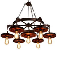 rustikale lampen großhandel-7-köpfe Retro Metall Rustikale Kronleuchter Industrielle Pendelleuchte Vintage Industrie Loft Lampen für Restaurant Bar Kaffeeraum Esszimmer