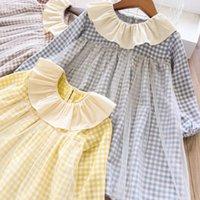 fallen farbtulle großhandel-Mädchen kleidet das Kinderplaid, das langes Hülsenkleid des Spitzetüllkleidkinderpatchworkfarbe falbala Revers kleidet, fallen neues Mädchenprinzessinkleid F92