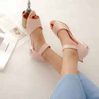 Wholesale fishing shoes size 11 resale online - Big Size high heels sandals women shoes woman summer ladies Fish mouth shallow open toe magic sticker bow decoration